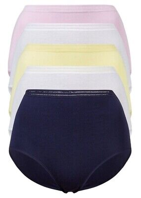 5 PACK Ladies M&S No VPL FULL Knickers Briefs Cotton Pants High Rise Size 6-28 3