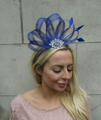Royal Blue Silver Sinamay Feather Hair Fascinator Wedding Headpiece Races 7842 2