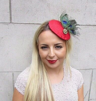 Red Gold Green Peacock Feather Fascinator Pillbox Hat Hair Clip 1940s Races 3165 4