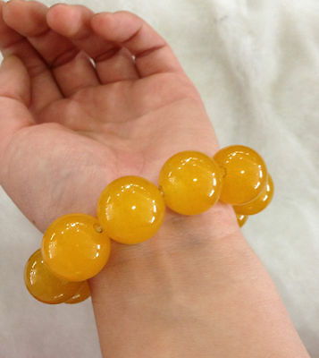Certification of 100% natural jade yellow agate bead bracelet 20 mm 3