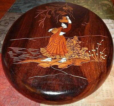 Handmade, Wood Marquetry of Palestinian Woman. Dozens of individual wood pieces. 2