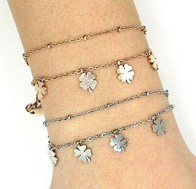 Bracciale donna in acciaio inox con quadrifoglio portafortuna braccialetto da 3