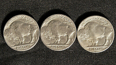 BUFFALO Indian Head Nickel lot (3) Coins with Dates 2