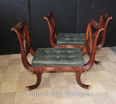 Pair Regency Stools Seats in Mahogany Day Chair 7