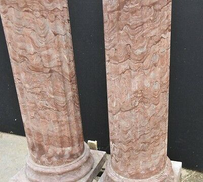Pair Large Italian Tuscan Marble Column Pedestal Stands 10