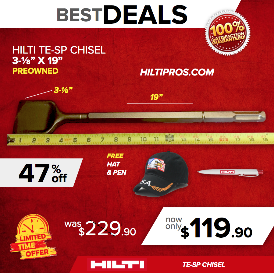 "Hilti Chisel Te-Sp 3-1/8"" X 19"", Preowned, For Te 805, 905, 1000, Fast Ship"
