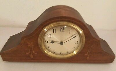 Antique Working French Victorian Inlaid Mini Mahogany Tambour Mantel Shelf Clock 2