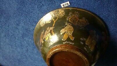 """Antique Oriental Papier Mache Bowl 11"""" Diameter 8"""