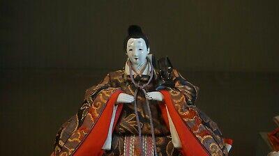 Fine Japanese Meiji Period Emperor & Empress Dolls on Stand 9