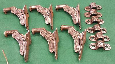 6 Stair Hand Rail Holders Cast Iron Vintage Scarce Decorative Mountng Clips #115 2