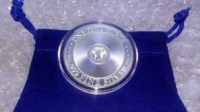 1 oz Fine Silver .999 Unicorn Forklore High Relief Round w/ Capsule & Coin Pouch 2