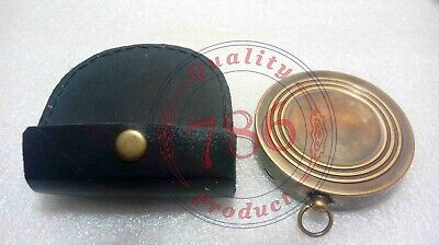 Nautical Antique Brass The Chess Maker 6th Century AD Compass With Leather Case 3