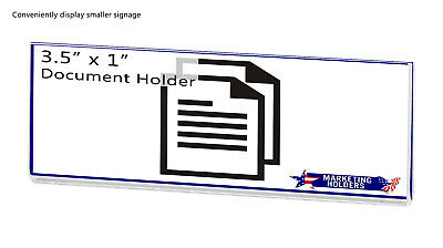 """Magnetic Ad Frame Sign Holder 3.5""""W x 1""""H Name Plate Small Signage No Holes 5"""