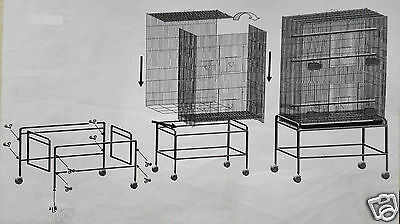 Bird Cage Parrot Aviary Pet Stand-alone Budgie Perch Castor Wheels Large SUPREMO