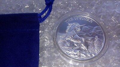 1 oz Fine Silver .999 Unicorn Forklore High Relief Round w/ Capsule & Coin Pouch 5