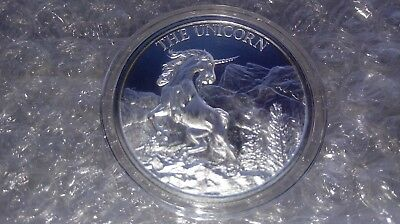 1 oz Fine Silver .999 Unicorn Forklore High Relief Round w/ Capsule & Coin Pouch 7