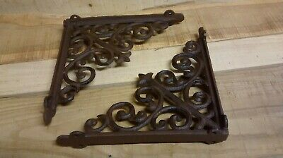 2 cast iron  Large ANTIQUE VICTORIAN STYLE SCROLL BROWN Shelf Brackets 3