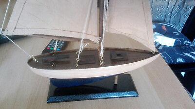 Modellschiff Holz Segler mit Takelage Boot Maritime Tisch Kamin Dekoration weis 3