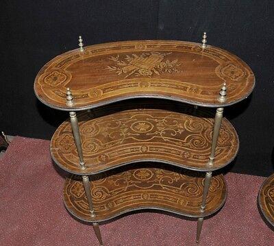 Pair Antique French Empire Shelf Unit Bookcase Kidney Bean Tier 6
