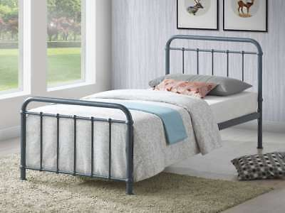 Miami Vintage Metal Bed Frame In Black Ivory Or Grey Finish Single Double King 7