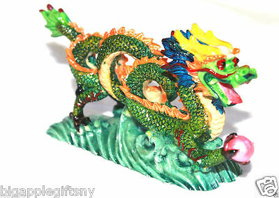 "NEW COLOR Chinese Feng Shui Dragon Figurine Statue for Luck & Success 6"" LONG 3"
