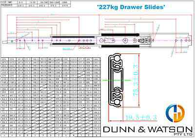 HEAVY DUTY 227kg Locking Drawer Slides / Runners - Lengths 408mm to 1524mm 6