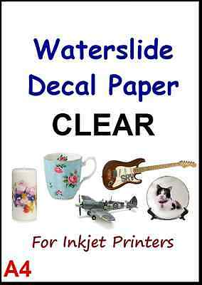 """CLEAR & WHITE A4 INKJET WATER SLIDE DECAL PAPER 1/5/10/20 packs 8.3"""" x 11.7"""" S1"""