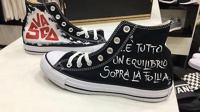 Dettagli su Converse all Star personalizzate disegnate con pittura Vasco Rossi 'E' tutto un.