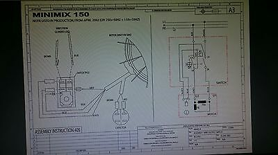 Belle Cement Concrete Mixer 240v ON OFF Switch Minimix130 &150 Spares  Electric