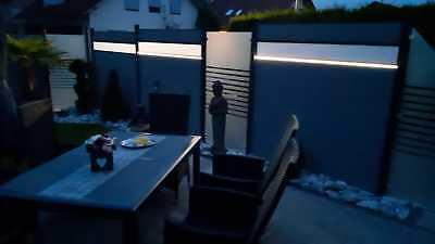 LED Leiste Lichtleiste WPC Garten Zaun Systemzaun Solar Kappe schwarz Pfosten