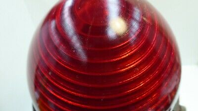 Vintage Art Deco Red Glass Dome Industrial Factory Light Bunker Outdoor Shade 5