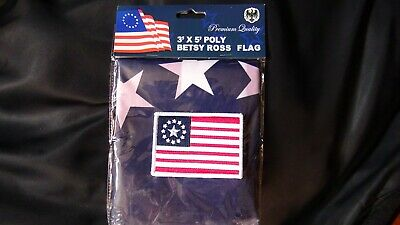 """Betsy Ross 3x5 ft flag and 2.5""""x3.5"""" inches Hook and Loop back embroidered patch 2"""