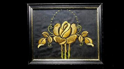 Antique Arts & Crafts Embroidered Panel in wood frame 3