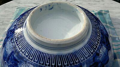 "Large Antique Japanese Imari Porcelain Bowl Scalloped Rimmed Meiji Period 13""dia 11"
