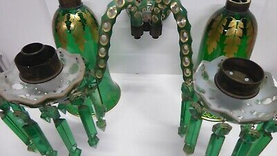 Antique Victorian Uranium Lustre Candle Chandelier Sconce Cut Cased Glass Gilt 10