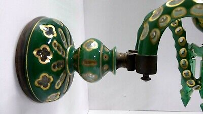 Antique Victorian Uranium Lustre Candle Chandelier Sconce Cut Cased Glass Gilt 5