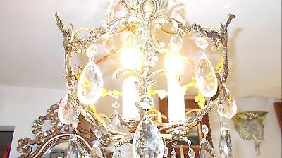 Antique Spanish Brass Orb w/Fancy Faceted Crystals [Mid-West Salvage] 10