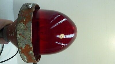 Vintage Art Deco Red Glass Dome Industrial Factory Light Bunker Outdoor Shade 3