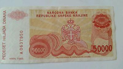 Dinara Croatia XF- aUNC 50,000 Knin 50000 Pick R21 1993