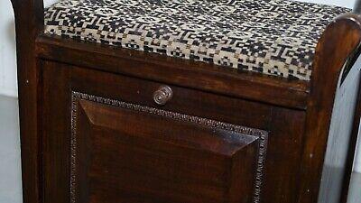 Victorian Mahogany Piano Stool Bauhaus Upholstery Internal Music Storage Drawer 7