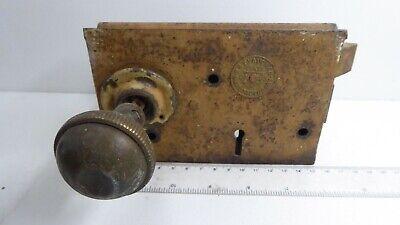 Antique H&T Vaughan Victorian Door Rim Latch Lock Brass Knob 7