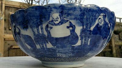 "Large Antique Japanese Imari Porcelain Bowl Scalloped Rimmed Meiji Period 13""dia 8"