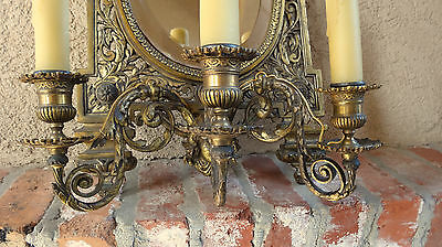 Antique French Brass Wall Sconce Light Fixture Beveled Oval Mirror Art Nouveau 5