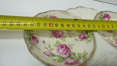 Vintage James Kent Double Bowl Serving Tray Pink Roses 5