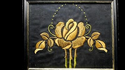 Antique Arts & Crafts Embroidered Panel in wood frame 6