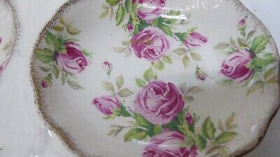 Vintage James Kent Double Bowl Serving Tray Pink Roses 2