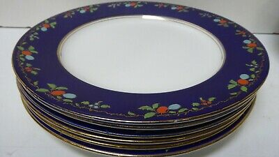 Antique Wedgwood Majolica Pottery Dinner Plates Cobalt Blue Fruit Decorated 7