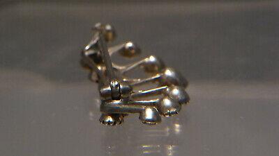 19. Jh. antik Brosche Silber solitär Granat Facetten zierliche Krone 38 mm 2,78g 9