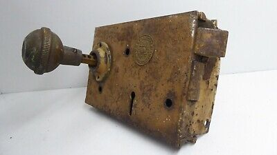 Antique H&T Vaughan Victorian Door Rim Latch Lock Brass Knob 3