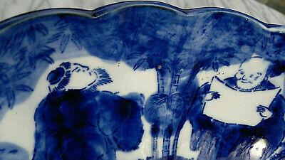 "Large Antique Japanese Imari Porcelain Bowl Scalloped Rimmed Meiji Period 13""dia 10"
